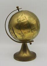 "Brass globe world earth spins 7"" vintage desktop tabletop library office decor"