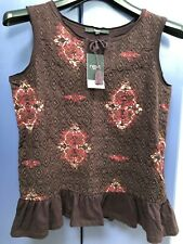 Womens NEXT Brown Top With Embroidery And Ruffle Trim Sleeveless Size 10 UK