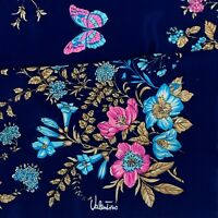 VALENTINO FLORAL BLUE LARGE HAND ROLLED Silk Scarf 35 INCHES