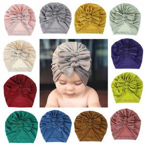 Kids Toddler Baby Turban Bow Knot Head Wrap Boys Girls Beanie Hat Cap Headband