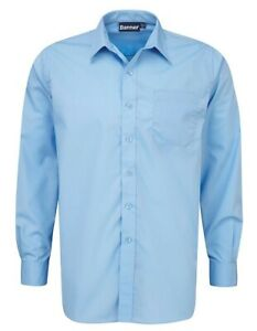 Blue Max Banner School Uniform Boys Twin Pack Long Sleeve Shirt