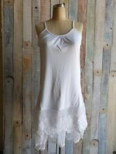 WHITE Tiered LACE Trim CAMISOLE Tank Top Long Slip DRESS EXTENDER Small