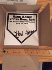 Hank Aaron Autograph Ceramic Tile Plaque commemorating Home Run 755 auto