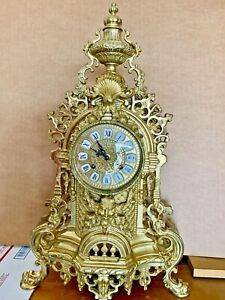 Antique French Louis XV Style Ormolu Rococo Brass Imperial Clock Gilt