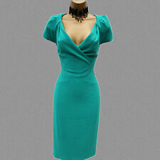 Karen Millen Turquoise Tailored Cocktail Office Wiggle Pencil Dress UK-12 US-8