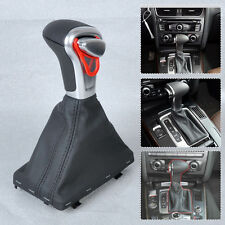 Leather Chrome AT Gear Shift Knob + Boot Gaiter Cover for Audi A3 A4 A5 A6 Q7 Q5