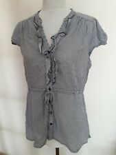 H&M Ladies Size 16 Blue White Sleeveless Shirt Blouse Top Summer  Curve Fashion