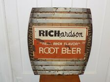 Vintage Richardson Root Beer Tin Barrel Sign
