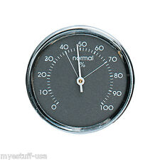 Analog Hygrometer Humidity Gauge 1.75 in. Dia Metal Chrome Bezel Made in Germany