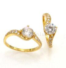 fashion1uk 24K Gold Plated Simulated Clear Diamond Lady Twist Ring Size P