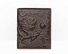 Genuine Leather Mens Bifold Dragon Wallet Brown Credit Card Holder Retro Style