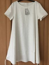 COS WHITE EMBROIDERED A-LINE SUMMER BEACH DRESS WITH TIE DETAILS Size L / 12-14