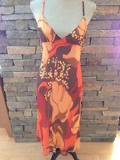 NWT Theory - Summer Silk Dress - Bold Floral - Orange - Brown - Size 12