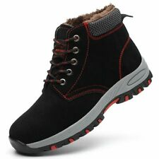 UK Men Women Fur Lined Winter Snow Boots Safety Work Steel Toe Shoes Size 2-11