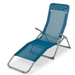 Ticlin Metal Rocker Sun Lounger - Blue: NDD Reclining Garden Outdoor Folding Bed