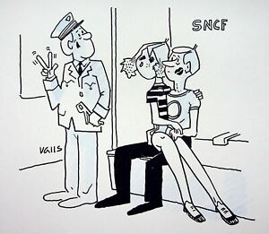 [Funny - Press] Guy Valls - SNCF: LOVE Train - Drawing Original Signed