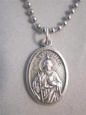 "Catholic Italian St Jude Medal Pendant Necklace 24"" Ball Chain + BONUS BOOK"