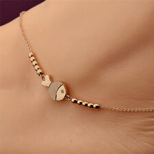 Fashion Cute Fish Anklet Chain Rose Gold Titanium Lover Barefoot Chain Jewelry Y