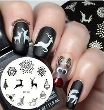 Nail Art Stamping Plate Xmas Tree Deer Image Stamp Template BP82 BORN PRETTY