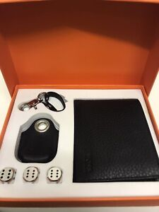 NEW designer HUGO BOSS Gift Set Mens Wallet, Keyring Box Set And Dice
