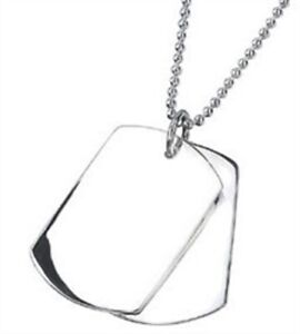"Elements 20"" 925 Polished Sterling Silver Men's Double Dog Tag Necklace"