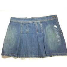NWT!! Old Navy Ultra Low Waist Denim Distressed Frayed Pleated Mini Skirt Sz 8