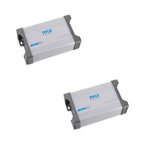 Pyle Waterproof 600 W 2 Channel Marine Power Audio Amplifier for Boats (2 Pack)