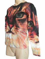 Girl's/ women's T shirt with cat's face print brown size XS S 10 long sleeve new