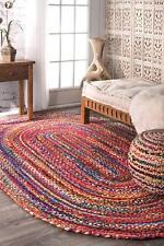 2x3 Natural Braided Oval Chindi Area Rag Rug Hardwood Floors Woven Fabric Rugs