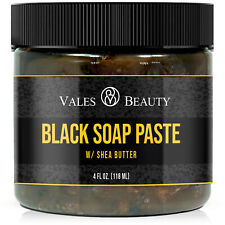 Raw African Black Soap Paste Body & Face Wash 4 oz For Acne Scars Stretch Marks