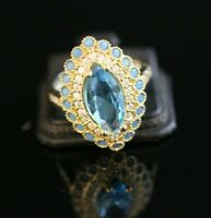 TURKISH HANDMADE AQUA MARINE STERLING SILVER 925K RING SIZE 7,8,9