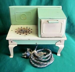 Kingston Vintage 1930 Childs Electric Toy Stove Oven #408-A Green Cream~OG cord
