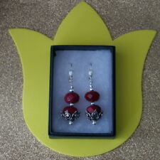 Beautiful Earrings With Faceted Indian Ruby 16 Gr. 4 Cm. Long + Hooks In Box