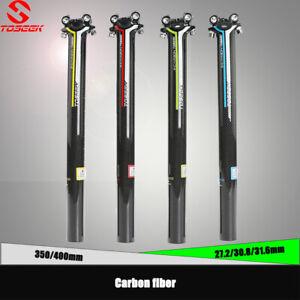 TOSEEK Seatpost Carbon Fiber 27.2//30.8//31.6 mm 350//400mm MTB Road Bike Clamp