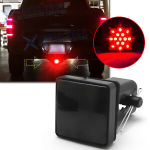 """Bright Red Smoked Lens 15-LED Tow Hitch Receiver Brake Light For Truck 2"""" Hole"""