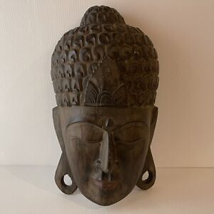"Buddha Wood Face Large Wall Mask Hand Carved 18"" Balinese Asian Decor Peace"