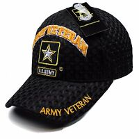 US Army Gold Star Army Veteran Black Mesh Adjustable Strap Hat Cap