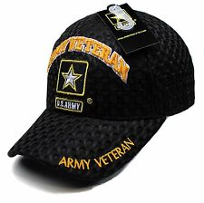 fa397478f2a US Army Gold Star Army Veteran Black Mesh Adjustable Strap Hat Cap