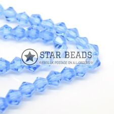 115 X Faceted Bicone Crystal Glass Beads 4x3mm - Pick Colour Ice Blue