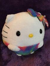 "Ty Hello Kitty Beanie Balls Sanrio Rainbow 5"" Plush Stuffed Animal New With Tags"