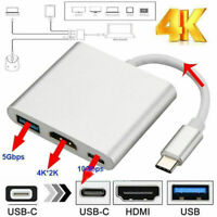 Type C USB 3.1 to USB-C 4K HDMI USB 3.0 Adapter Cable 3 in 1 Hub For Apple Mac