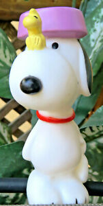 United Feature Snoopy With Food Bowl On Head Woodstock on Nose 1966 squeaky toy