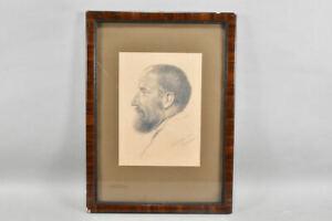 k65v19- Zeichnung, Porträt Bärtiger, ortsbezeichnet Hofgastein 1928, J. Becker