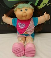 """Cabbage Patch Kids 18"""" doll Brunette Green Eyes With Outfit"""
