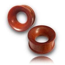 "PAIR OF 0000G 1/2"" INCH (13MM) CONCAVE ROSE WOOD TUNNELS PLUGS PLUG DOUBLE FLARE"