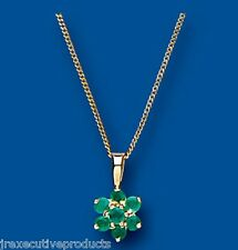 Emerald Pendant Emerald Necklace Yellow Gold Emerald Pendant Emerald Cluster