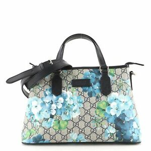 Gucci Convertible Tote Blooms Print GG Coated Canvas Small