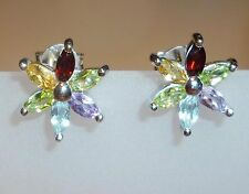 Flower Amethyst Citrine Garnet Peridot Blue Topaz 925  SILVER Stud EARRINGS