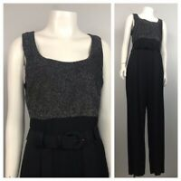 1990s Black Sleeveless Jumpsuit / Shimmery Lame One Piece Belted Suit  / Small