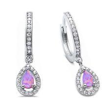 Pink Opal & Cz Hoop Dangle .925 Sterling Silver Earrings